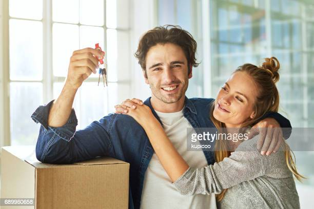 it's our happily ever after - house key stock photos and pictures