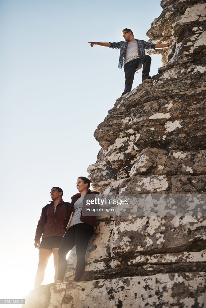 It's over there! : Stock Photo