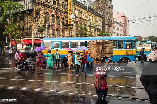 it's raining in kolkata! - kolkata stock pictures, royalty-free photos & images