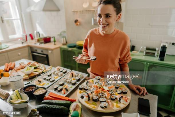 it's sushi time! - sushi stock pictures, royalty-free photos & images