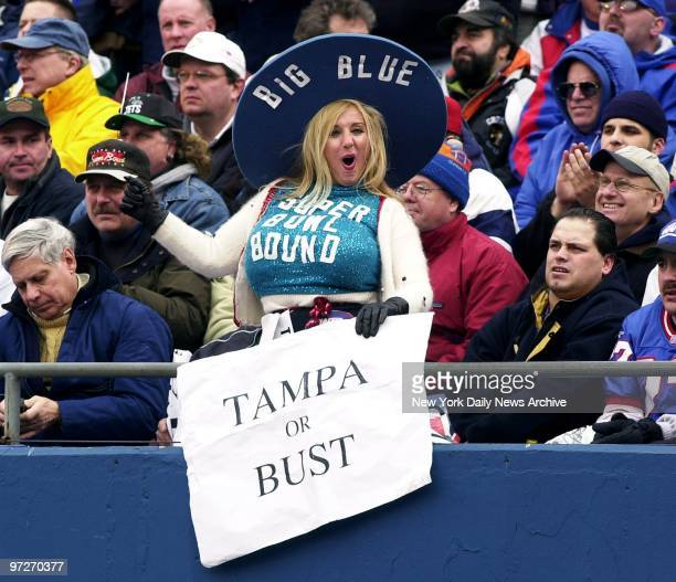 It's Tampa Or Bust for Miss Big Blue Sondra Fortunato as she roots for her team during the NFC Championship Game between the New York Giants and the...