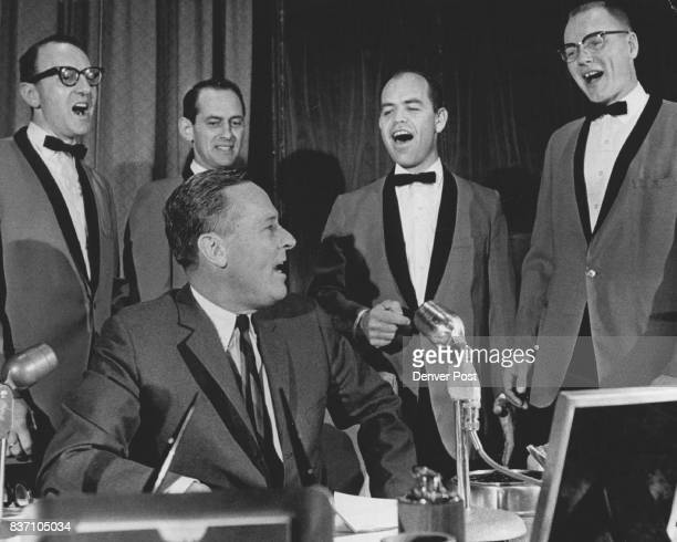 It's the First Barbershop Quintet Gov John love Wednesday joined the HiLanders a Denver barbership quartet in a chorus of Wait Till the Sun Shines...