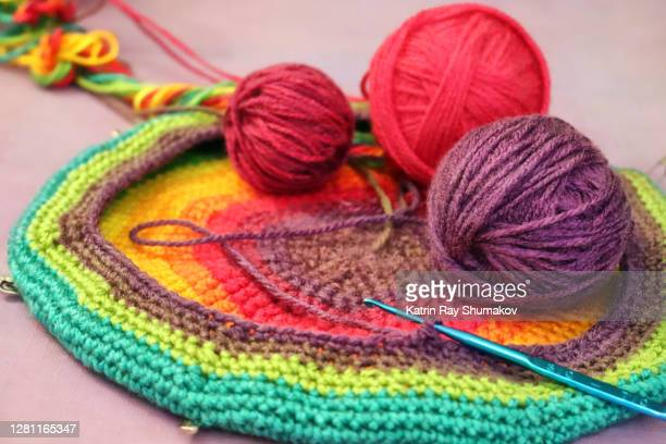 it's time for craft projects - crocheting rainbow beret - crochet stock pictures, royalty-free photos & images