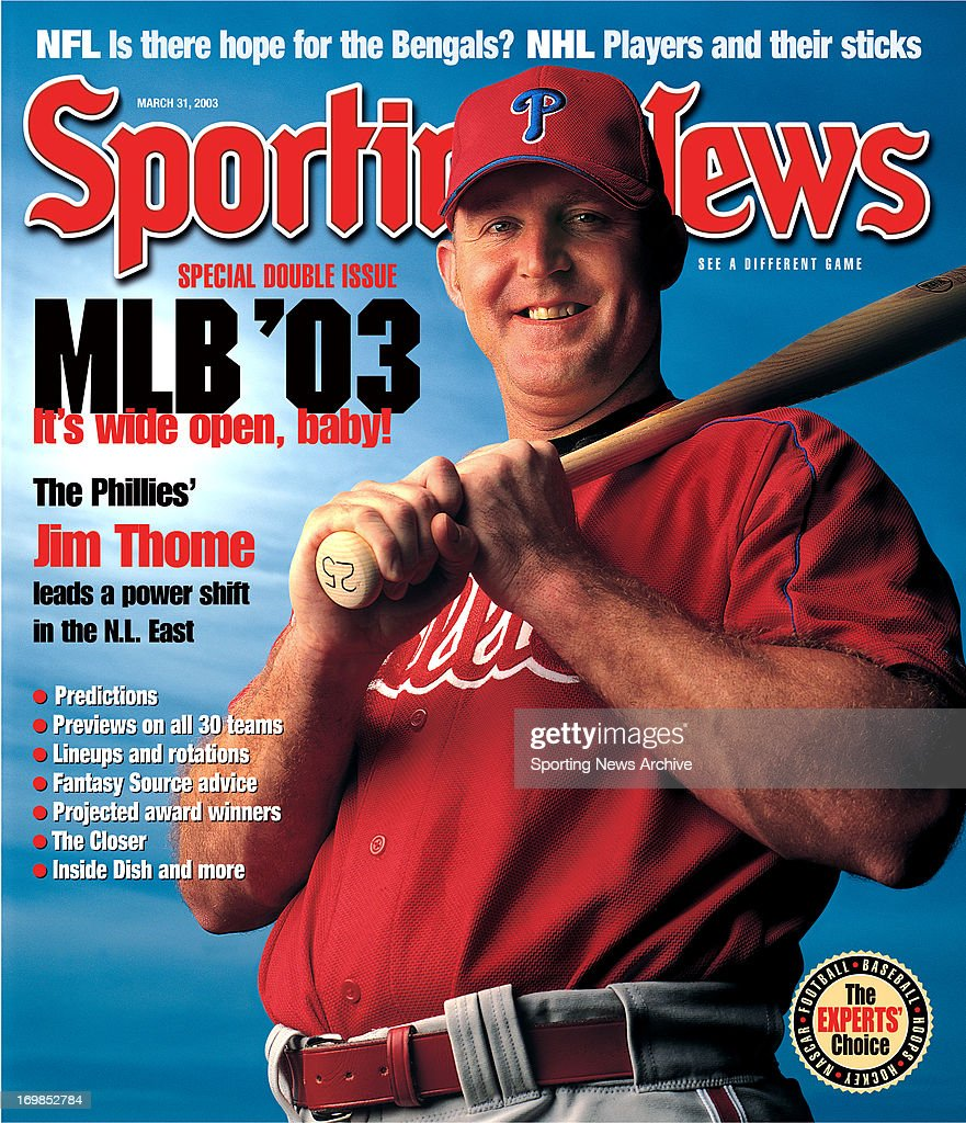 MLB Covers - Philadelphia Phillies DH Jim Thome - March 31, 2003 : News Photo