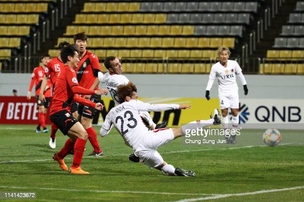 Itsuki Oda of Kashima Antlers dives for the ball during the AF Champions League Group E match between Gyeongnam and Kashima Antlers at Changwon...