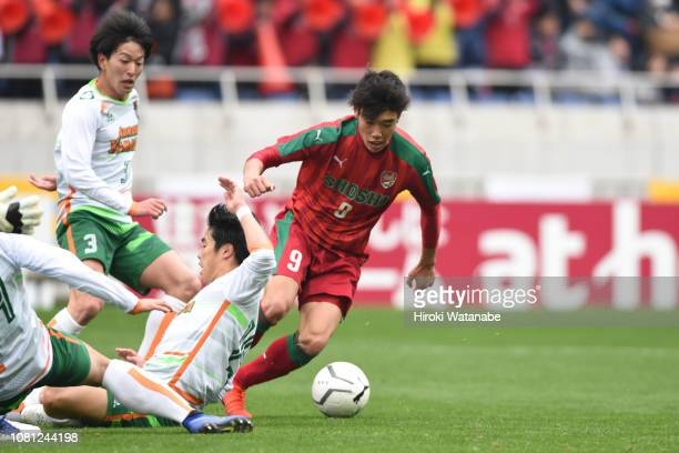 Itsuki Someno of Shoshi scores his team's third goal during the 97th All Japan High School Soccer Tournament semi final between Shoshi and Aomori...