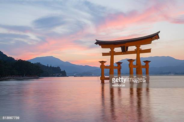 itsukushima shinto shrine on miyajima in japan - shrine stock pictures, royalty-free photos & images