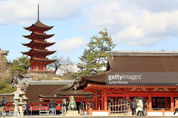 Itsukushima Shrine stands on March 29, 2010 in Hatsukaichi, Hiroshima, Japan. The Shinto shrine was inscribed as a UNESCO World Heritage Site in...
