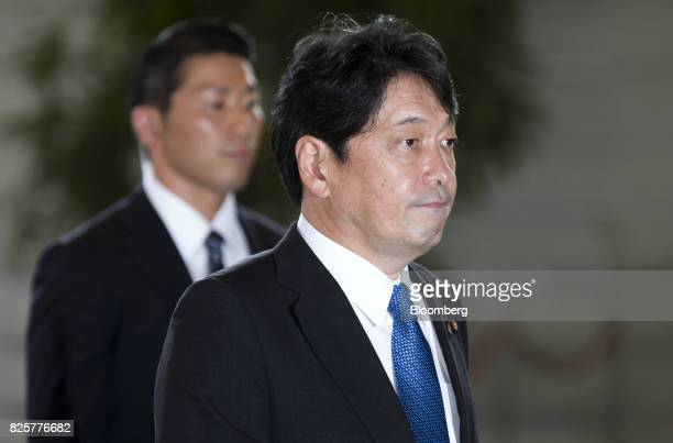 Itsunori Onodera newlyappointed defense minister of Japan arrives at the Prime Minister's official residence in Tokyo Japan on Thursday Aug 3 2017...