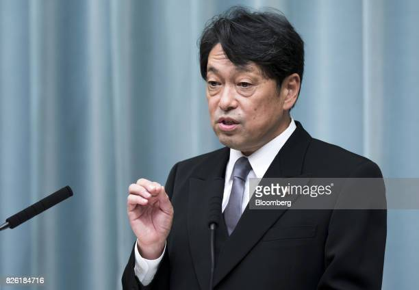 Itsunori Onodera newlyappointed defense minister of Japan speaks during a news conference at the Prime Minister's official residence in Tokyo Japan...