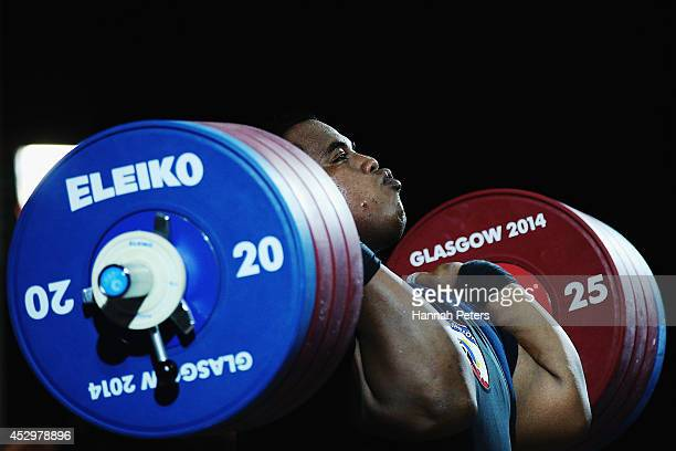 Itte Detenamo of Nauru competes in the Men's +105kg final at Scottish Exhibition And Conference Centre during day eight of the Glasgow 2014...