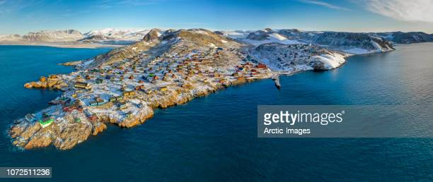 ittoqqortoormiit, scoresbysund, greenland - greenland stock pictures, royalty-free photos & images
