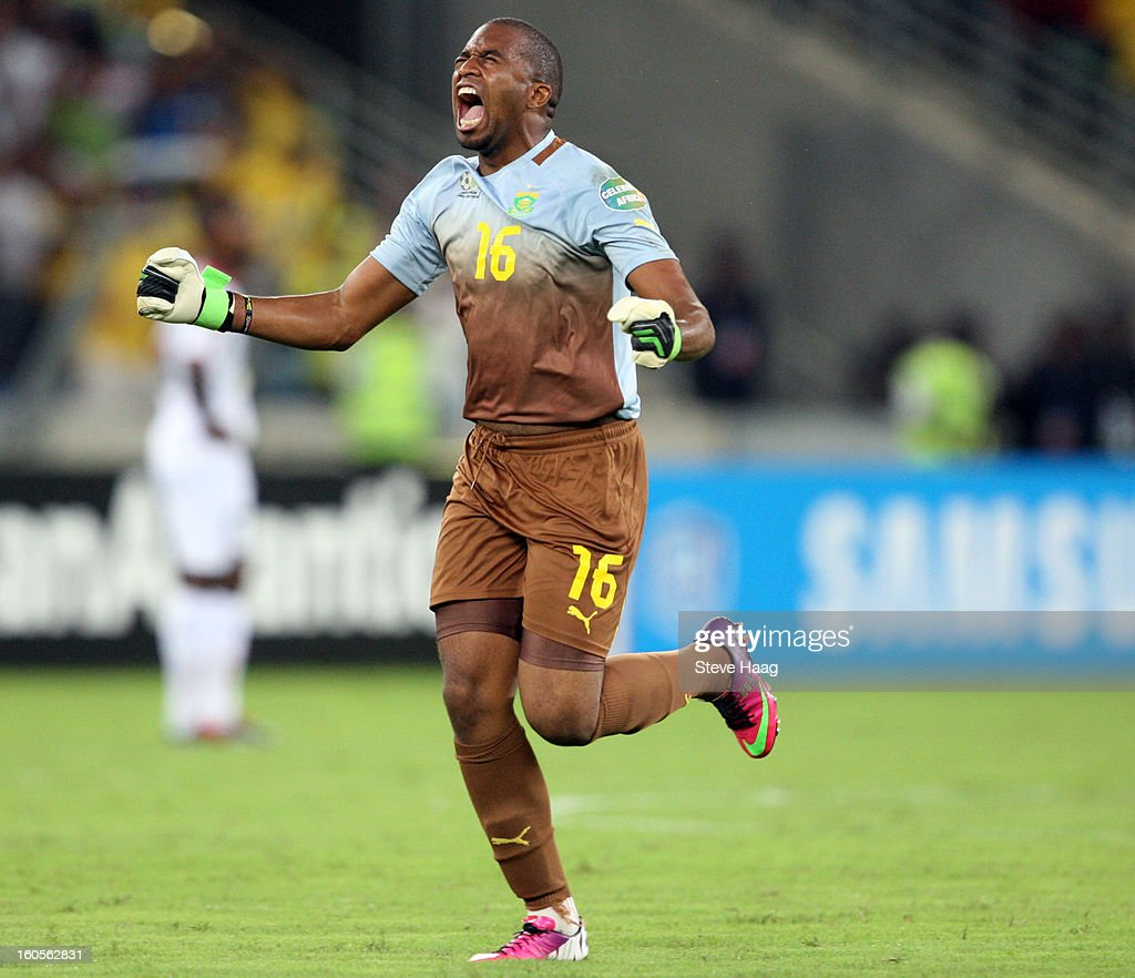 Itumeleng Khune G/K of South Africa during the 2013 African Cup of Nations Quarter-Final match between South Africa and Mali at Moses Mahbida Stadium on February 2, 2013 in Durban, South Africa.