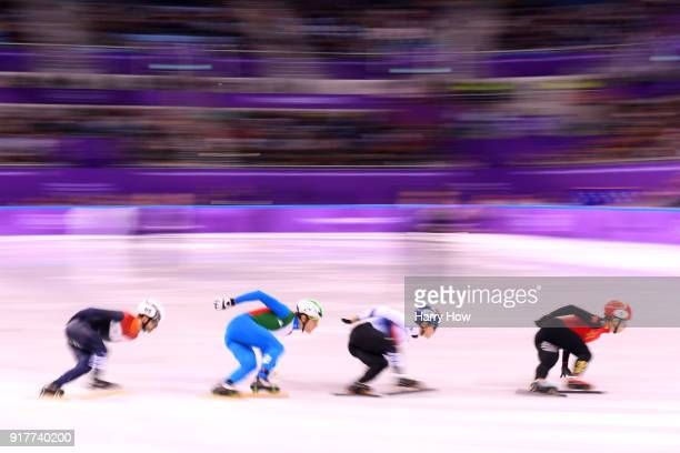 Itzhak De Laat of the Netherlands Tommaso Dotti of Italy Yira Seo of Korea and Tianyu Han of China compete during the Men's 1000m Short Track Speed...