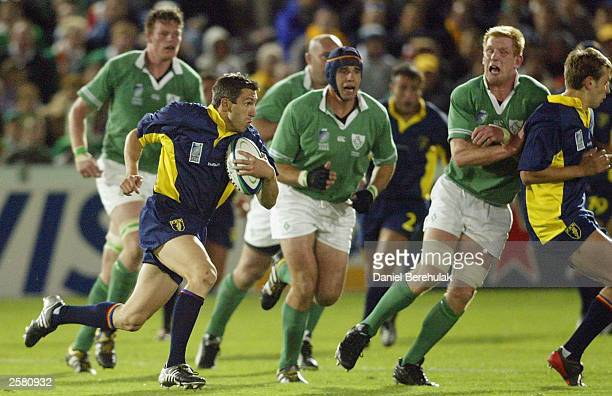 Iulian Andrei of Romania in action during the Rugby World Cup Pool A match between Ireland and Romania at Central Coast Stadium October 11 2003 in...