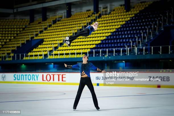 Iuliia Artemeva and Mikhail Nazarychev of Russia compete in the Junior Pairs Free Skating during the ISU Junior Grand Prix of Figure Skating Croatia...