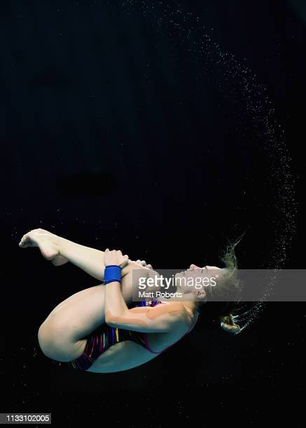 Iuliia Timoshinina of Russia competes during the Women's 10m Platform semifinal on day two of the FINA Diving World Cup Sagamihara at Sagamihara...