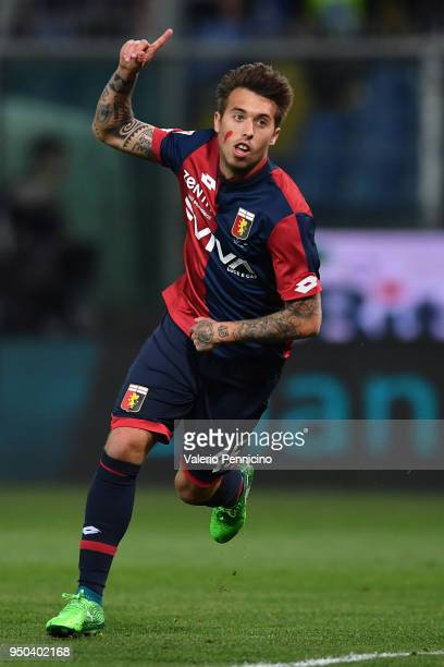 Iuri Medeiros of Genoa CFC celebrates after scoring the opening goal during the Serie A match between Genoa CFC and Hellas Verona FC at Stadio Luigi...