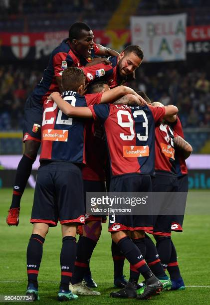 Iuri Medeiros of Genoa CFC celebrates after scoring the opening goal with team mates during the Serie A match between Genoa CFC and Hellas Verona FC...