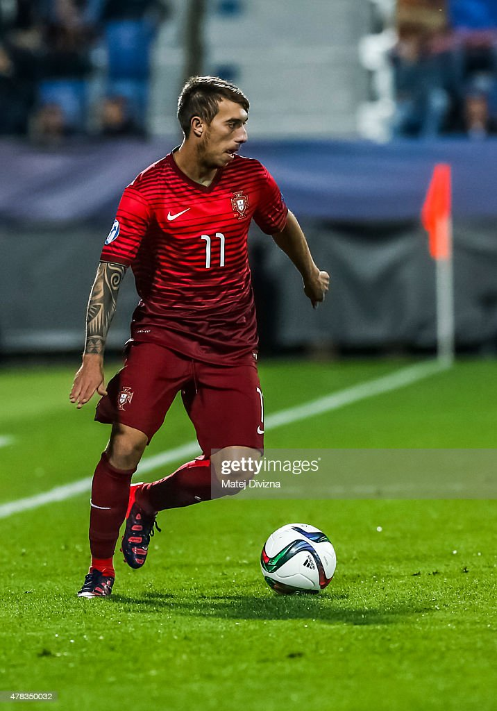 Iuri Medeiros of Portugal in action during UEFA U21 European Championship Group B match between Portugal and Sweden at Mestsky Fotbalovy Stadium on June 24, 2015 in Uherske Hradiste, Czech Republic.