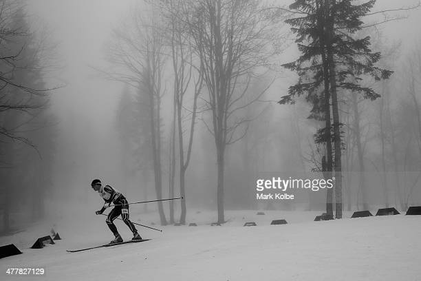 Iurii Utkin of Ukraine competes in the Men's 125km Visually Impaired Biathlon during day four of Sochi 2014 Paralympic Winter Games at Laura...