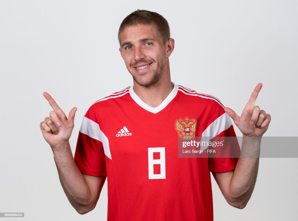 Iury Gazinsky of Russia poses for a portrait during the official FIFA World Cup 2018 portrait session at Federal Sports Centre Novogorsk on June 8, 2018 in Moscow, Russia.