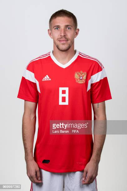 Iury Gazinsky of Russia poses for a portrait during the official FIFA World Cup 2018 portrait session at Federal Sports Centre Novogorsk on June 8...