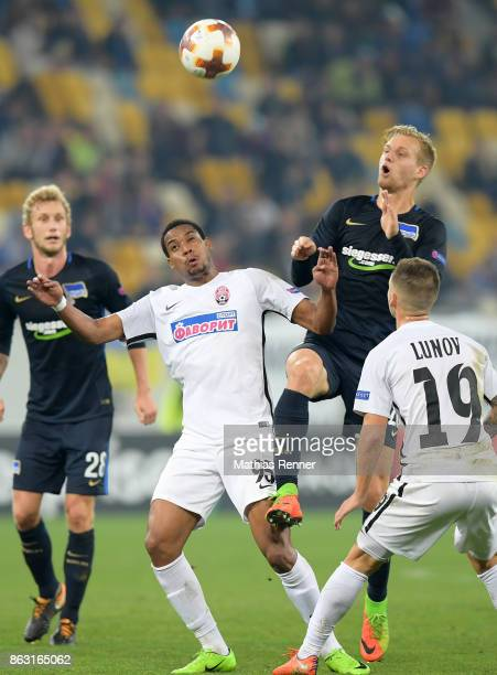 Iury of FC Zorya Luhansk Arne Maier of Hertha BSC and Maksym Lunyov of FC Zorya Luhansk during the Europa League group J game between Zorya Luhansk...