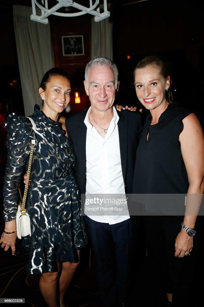 Iva Majoli, (L) John McEnroe and Barbara Schett attend 'Diner des Legendes' at Le Fouquet's on June 6, 2018 in Paris, France.