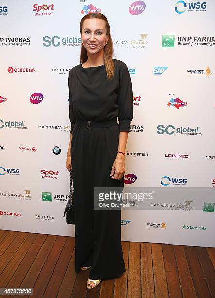 Iva Majoli of Croatia poses for a photograph at the WTA Year End Gala Party at the Marina Bay Sands Hotel during the BNP Paribas WTA Finals at...