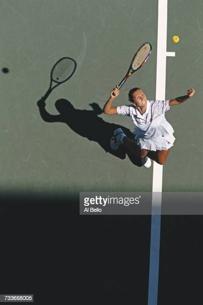 Iva Majoli of Croatia serves to Sandrine Testud during their Women's Singles second round match at the US Open Tennis Championship on 28 August 1997...