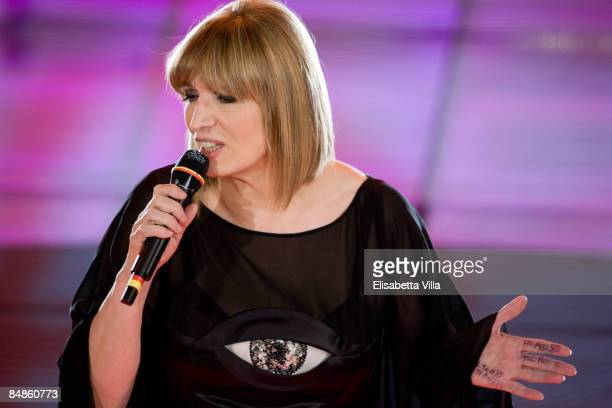 Iva Zanicchi is shown onstage on opening night of the 59th San Remo Song Festival at the Ariston Theatre on February 17 2009 in San Remo Italy