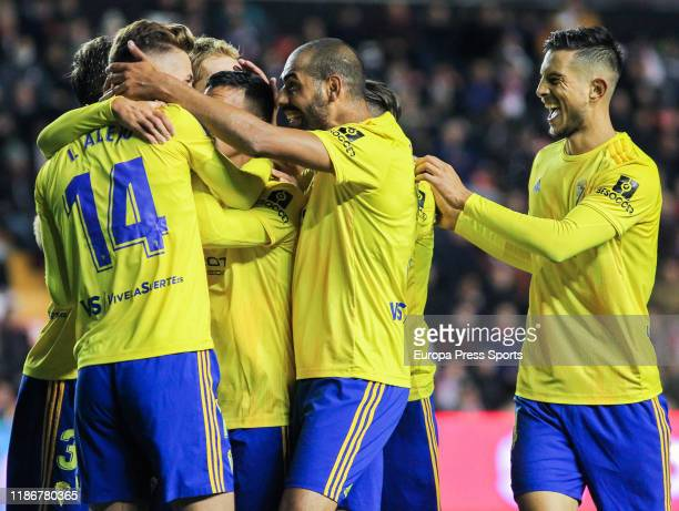 Ivan Alejo, player of Cadiz CF from Spain, celebrates a goal during the spanish second league, Liga SmartBank, football match played between Rayo...