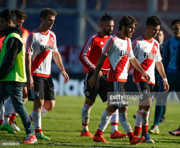 Ivan Alonso Ariel Rojas Leonardo Ponzio and Gonzalo Martinez of River Plate leave the field after loosing a match between San Lorenzo and River Plate...