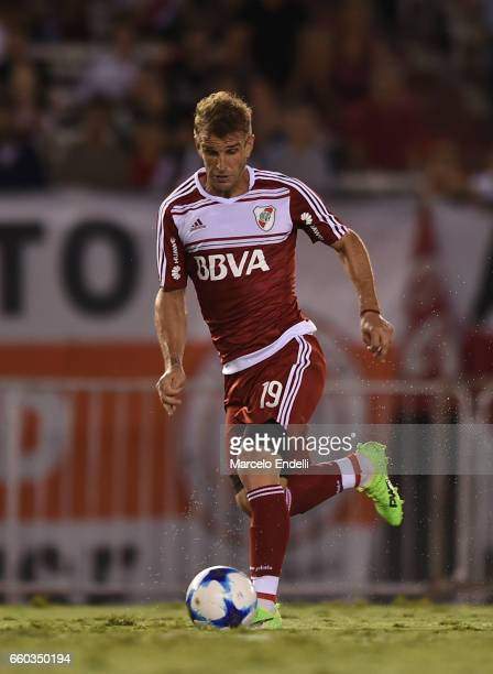 Ivan Alonso of River Plate drives the ball during a match between River Plate and Belgrano as part of Torneo Primera Division 2016/17 at Monumental...