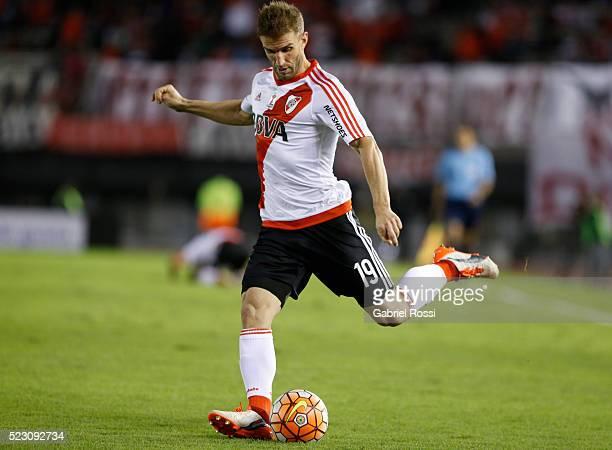 Ivan Alonso of River Plate kicks the ball during a match between River Plate and Trujillanos as part of Copa Bridgestone Libertadores 2016 at Antonio...