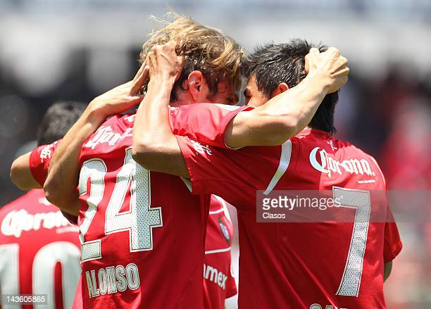 Ivan Alonso of Toluca celebrates a goal during a match between Toluca v San Luis as part of the Torneo Clausura at Nemesio Diez Stadium on April 29,...