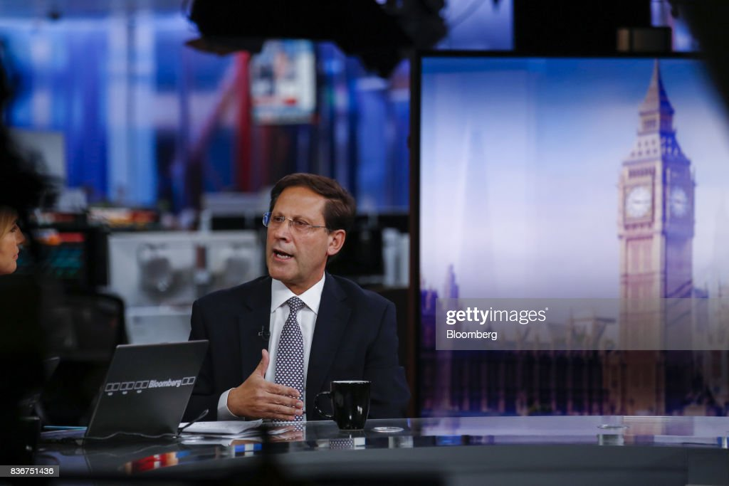 Ivan Arriagada, chief executive officer of Antofagasta Plc, gestures while speaking during a Bloomberg Television interview in London, U.K., on Tuesday, Aug. 22, 2017. Antofagasta sees it full year copper production at 685,000-720,000 tons. Photographer: Luke MacGregor/Bloomberg via Getty Images