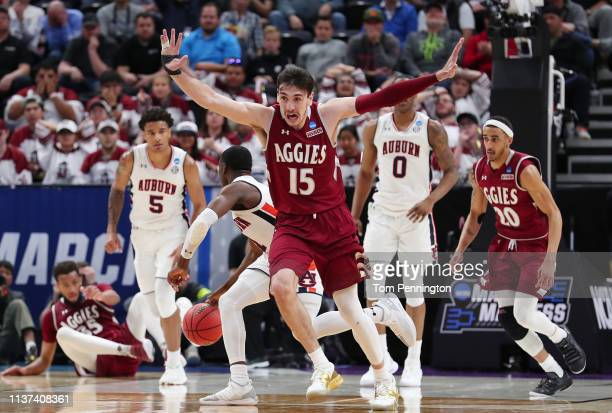 Ivan Aurrecoechea of the New Mexico State Aggies reacts during the second half against the Auburn Tigers in the first round of the 2019 NCAA Men's...