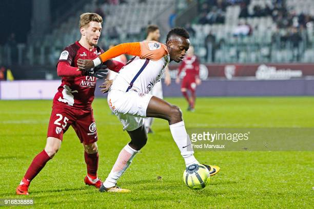 Ivan Balliu of Metz and Keagan Dolly of Montpellier during the Ligue 1 match between Metz and Montpellier Herault SC at on February 10 2018 in Metz