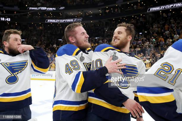 Ivan Barbashev and Brayden Schenn of the St Louis Blues celebrate their win over the Boston Bruins in Game Seven of the 2019 NHL Stanley Cup Final at...