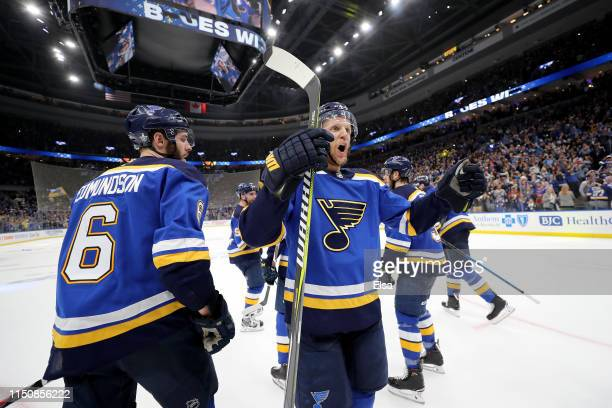Ivan Barbashev and Joel Edmundson of the St Louis Blues celebrate after defeating the San Jose Sharks in Game Six with a score of 5 to 1 to win the...