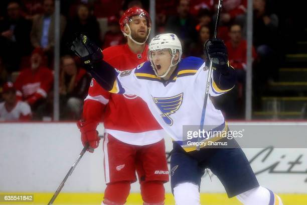 Ivan Barbashev of the St Louis Blues celebrates a first period goal in front of Frans Nielsen of the Detroit Red Wings at Joe Louis Arena on February...