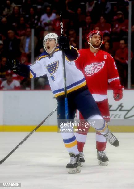 Ivan Barbashev of the St Louis Blues celebrates a firstperiod goal in front of Frans Nielsen of the Detroit Red Wings at Joe Louis Arena on February...