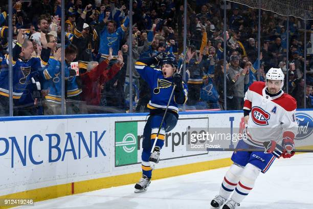 Ivan Barbashev of the St Louis Blues celebrates his goal against the Montreal Canadiens at Scottrade Center on January 30 2018 in St Louis Missouri