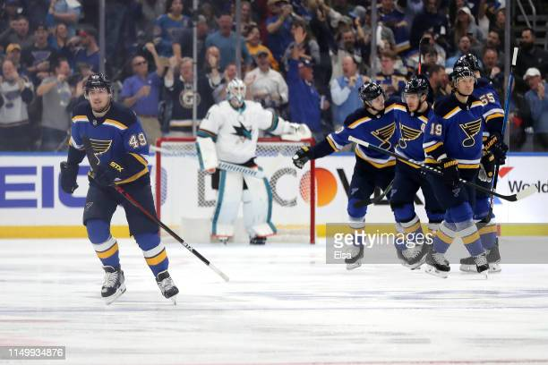 Ivan Barbashev of the St Louis Blues celebrates with his teammates after scoring a goal on Martin Jones of the San Jose Sharks during the first...