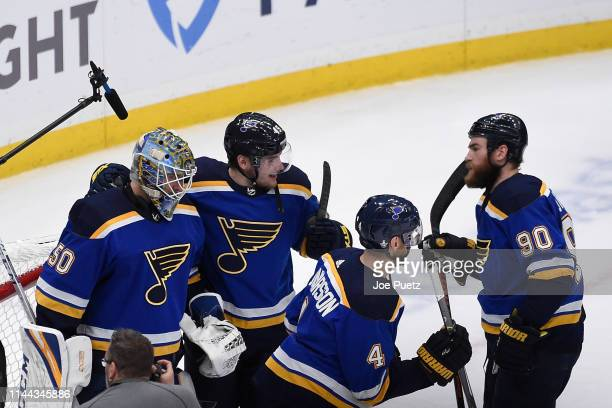 Ivan Barbashev of the St Louis Blues congratulates Jordan Binnington of the St Louis Blues after beating the San Jose Sharks 21 in Game Four of the...