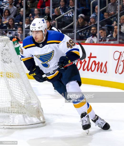 Ivan Barbashev of the St Louis Blues follows the play around the net during first period action against the Winnipeg Jets at the Bell MTS Place on...