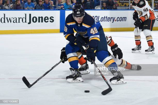 Ivan Barbashev of the St Louis Blues handles the puck against the Anaheim Ducks at Enterprise Center on October 14 2018 in St Louis Missouri