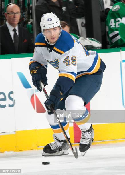 Ivan Barbashev of the St Louis Blues handles the puck against the Dallas Stars at the American Airlines Center on January 12 2019 in Dallas Texas